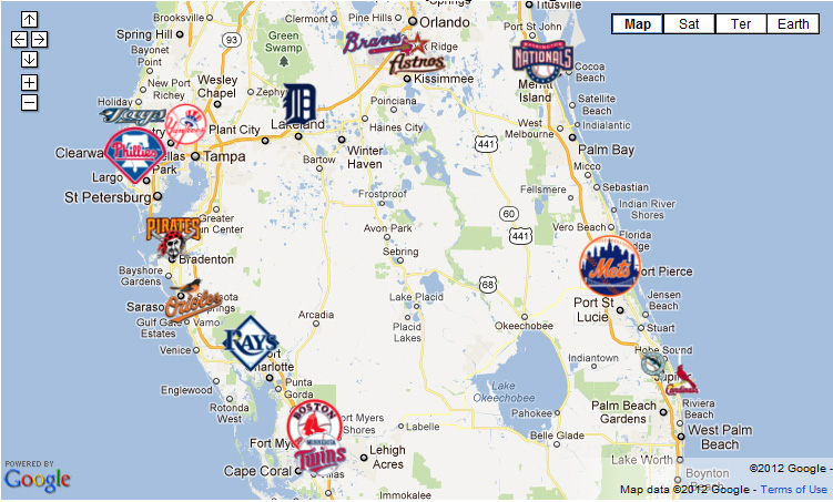 Grapefruit League Map Grapefruit League Map   The Baseball Journal Grapefruit League Map
